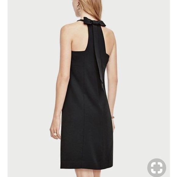 ae948a2ef89 NWT Ann Taylor petite black bow back shift dress